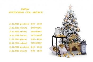 zmena výpožičného času Vianoce