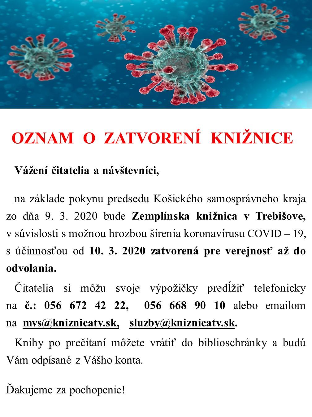 Oznam_opatrenia ku koronavirusu